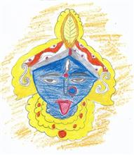 Painting  by Isha Bhattacharjee - Durga Maa