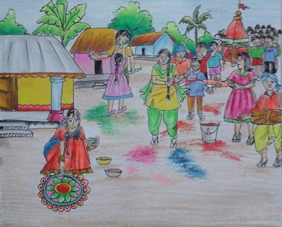 painting by Isha Purohit - Holi