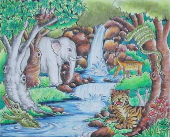 painting by Isha Purohit - Forest
