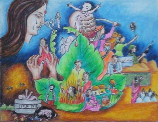painting by Isha Purohit - Save girl child