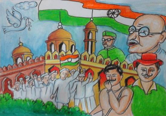 painting by Isha Purohit - Indian freedom fighters