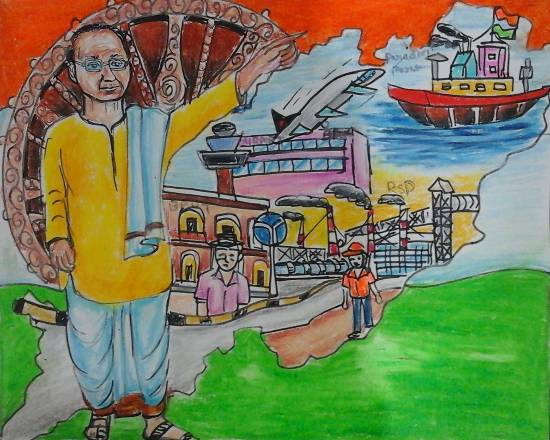 Painting  by Isha Purohit - Role of Biju Patnaik in making Odisha