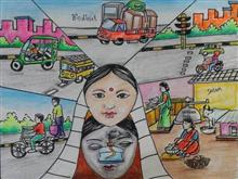 Painting  by Isha Purohit - Save Fuel