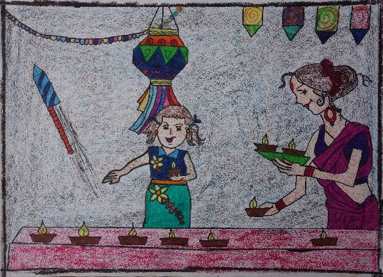 painting by Ishita Mayur Patil - Diwali