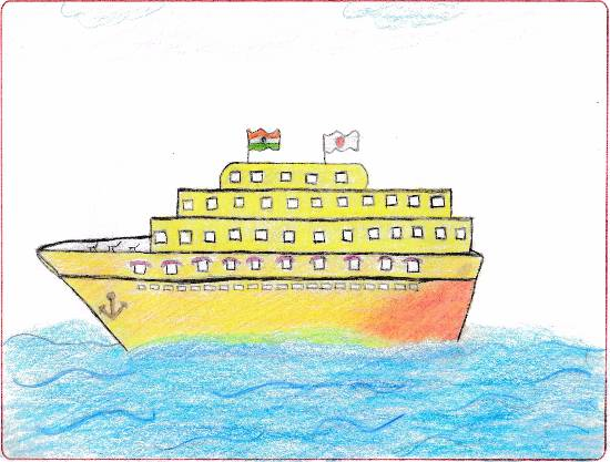 painting by J S Anshika - Luxury Cruise