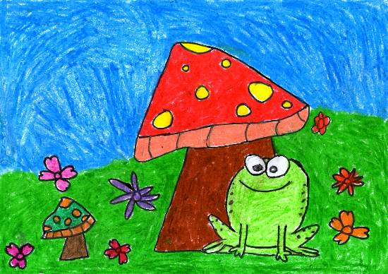 The frog under the mushroom, painting by John P Anson