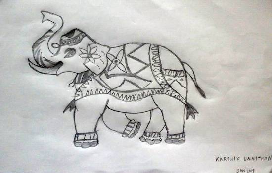 painting by Karthik H Unnithan - Elephant