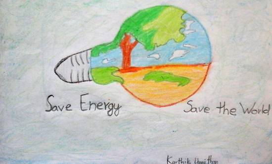 painting by Karthik H Unnithan - Save Energy, Save the World