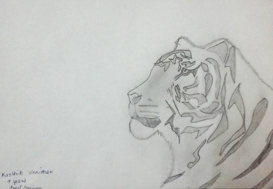 painting by Karthik H Unnithan - Tiger