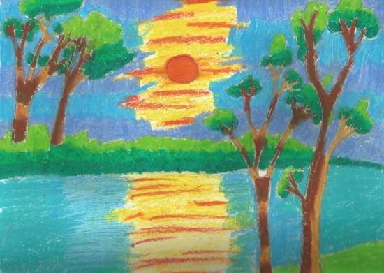 Sunset, painting by Karthik H Unnithan