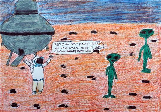 To mars for water science, painting by Karthik H Unnithan