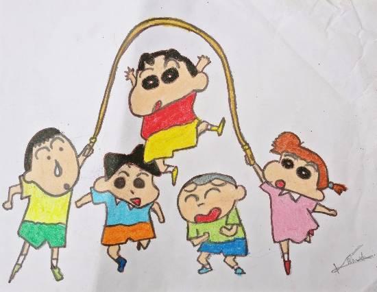 shinchan and friends painting by ketkee kiran bhutkar