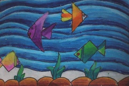 Painting  by Krisha Mudit Karnawat - Fishes