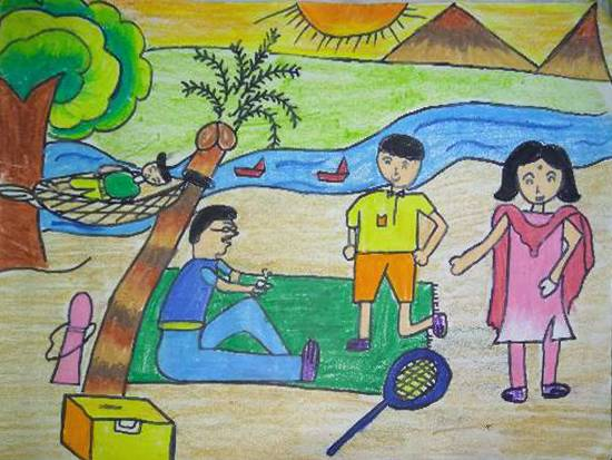 Painting  by Manya Manish Mehta - Family picnic