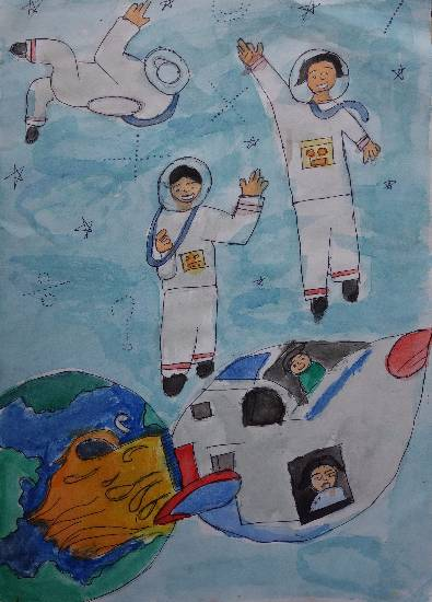 Painting  by Naman Dhiru Sarvaiya - Outer space
