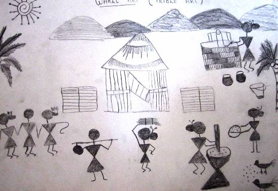 painting by Parinaz Hoshedar Davar - Warli Art - Tribal Village