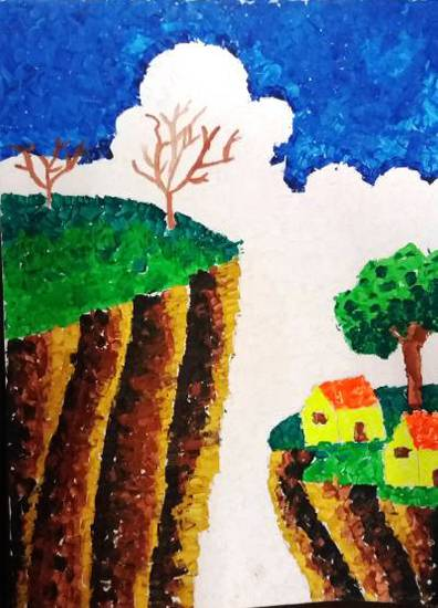 Scenery, painting by Parinaz Hoshedar Davar