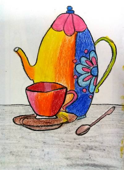 Painting  by Parinaz Hoshedar Davar - Tea Time