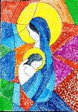 Painting  by Parinaz Hoshedar Davar - Mother Mary