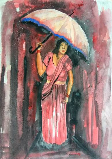 Painting  by Rahul Singh - Lady with umbrella