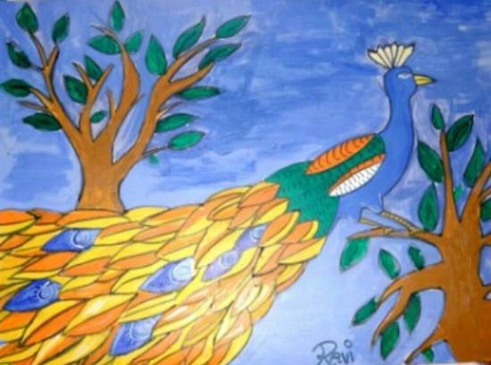 painting by Ravi Kumar - Peacock
