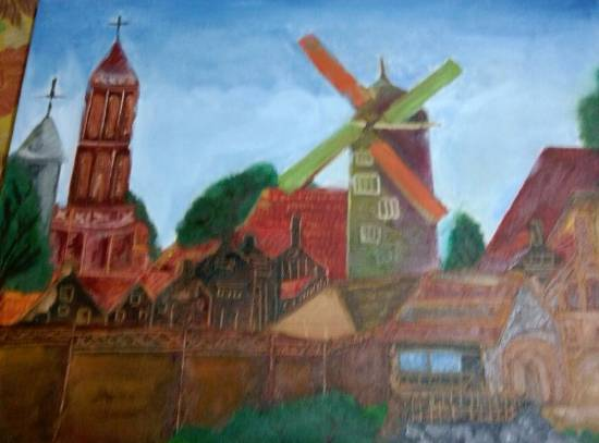painting by Ravi Kumar - Windmill