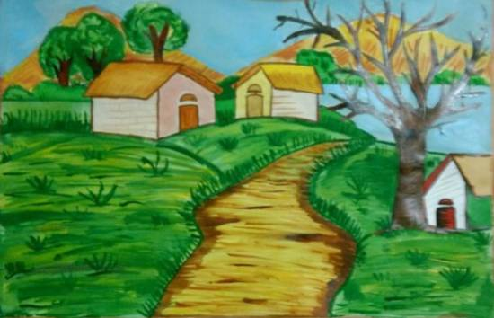 painting by Ravi Kumar - Houses