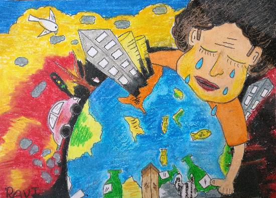 Save Earth, painting by Ravi Kumar