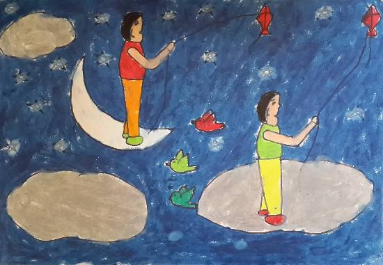 Painting  by Rohit D Sahani - Kite flying
