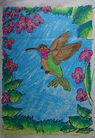 painting by Ruhani Sarit Haria - Humming bird