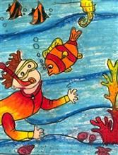 Painting  by Ruhani Sarit Haria - Underwater adventure