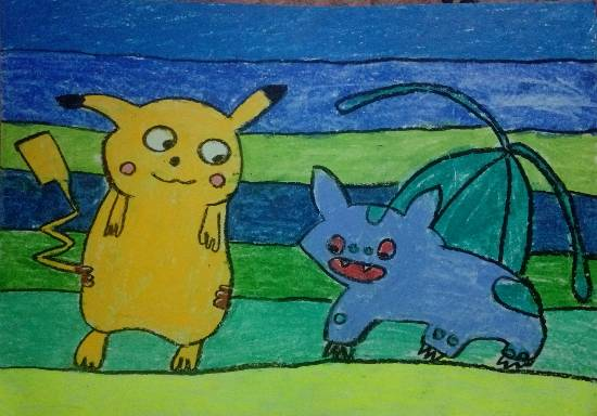painting by Thiyakshwa Sureshkumar - Pecaktchu and Bulbasaur
