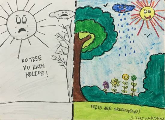 painting by Thiyakshwa Sureshkumar - Save Trees - Grow Trees
