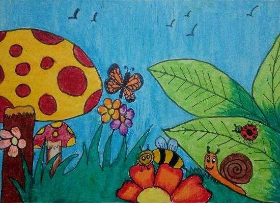 Flowers & Bugs, painting by Thiyakshwa Sureshkumar