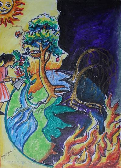 Save Trees, painting by Subhraneel Das