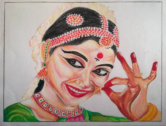 Painting  by Vaishnavee Kailas Puntambekar - Bharatnatyam Dancer