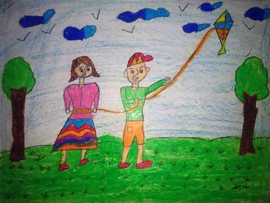 painting by Yug Soni - Kite flying