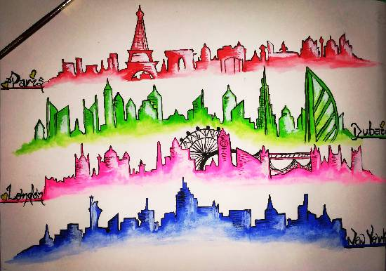 Painting  by Uma Maharana - Dream Cities