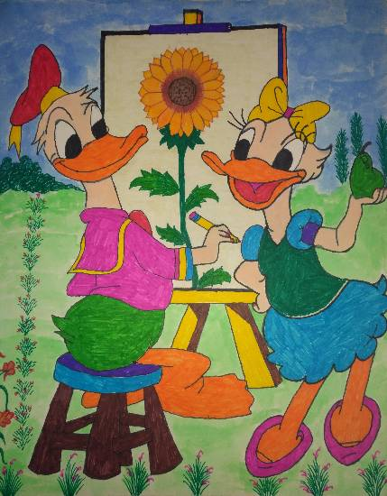 Painting  by Uma Maharana - Donald Ducks