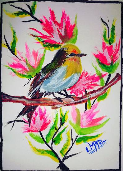 Painting  by Uma Maharana - Beautiful Bird