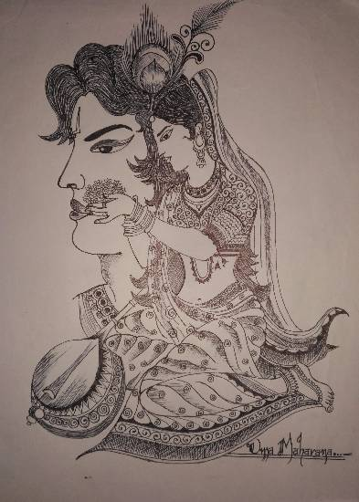 Meerabai & lord Krishna Painting by Uma Maharana