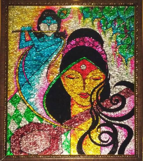 Painting  by Uma Maharana - Meerabai's devotional love for Lord Krishna