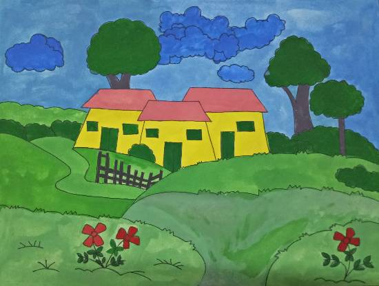 painting by Tithi Mukhopadhyay - House in the field