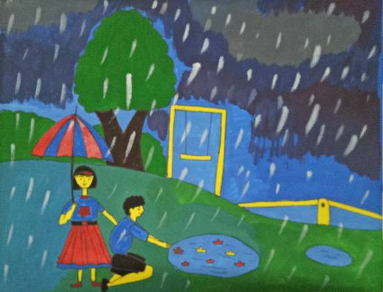 painting by Tithi Mukhopadhyay - Rainy day