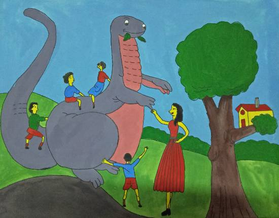 painting by Tithi Mukhopadhyay - Meeting with a dinosaur