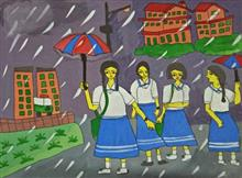 Painting  by Tithi Mukhopadhyay - School girls coming home on a rainy day