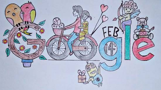 painting by Vattam Rajesh - Valentine's day doodle