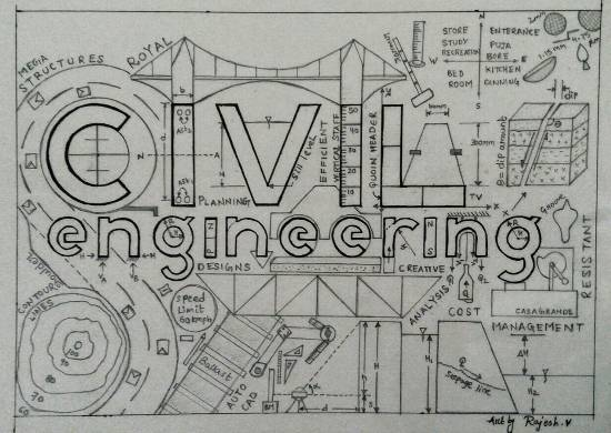Painting  by Vattam Rajesh - Civil Engineering Logo