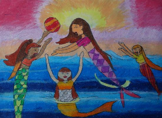 painting by Mahee Kaushik Desai - Mermaids