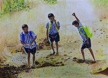 Golden Days, painting by Mrudula Bapat